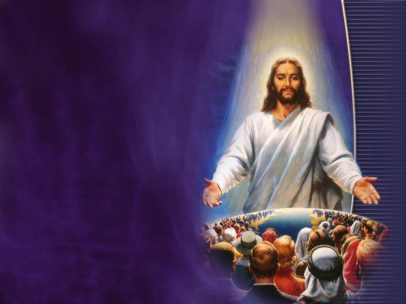 Jezus die aan de wereld staat met armen open