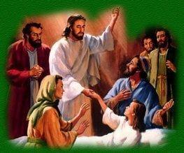 Jezus geneest een vrouw