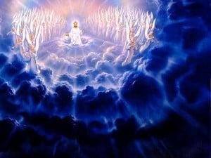 god in de hemel met engelen