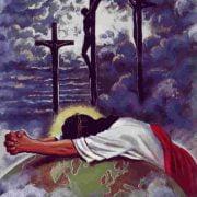 jezus bidden en aan het kruis