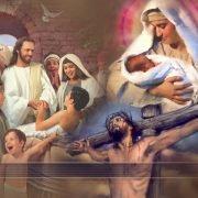 jezus geboren aan het kruis en verhalen vertellen